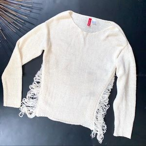 H&M Slash Detail Ripped Cable Knit Sweater